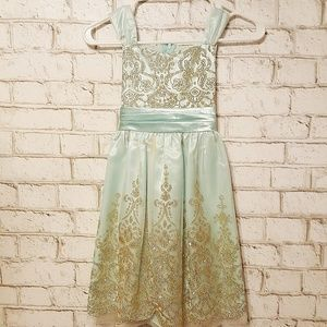 Rare Editions Blue Gold Overlay Girls Dress